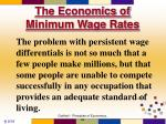 the economics of minimum wage rates