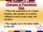 the supply of labor changes in population size