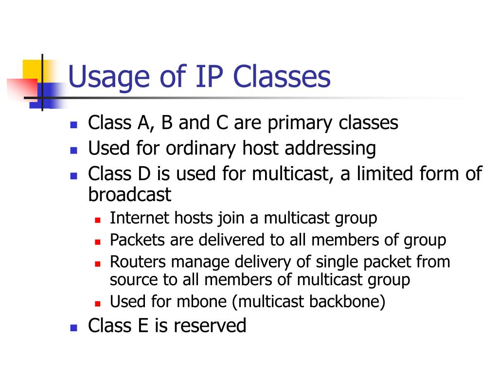 Usage of IP Classes