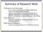 summary of research work