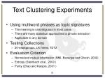 text clustering experiments