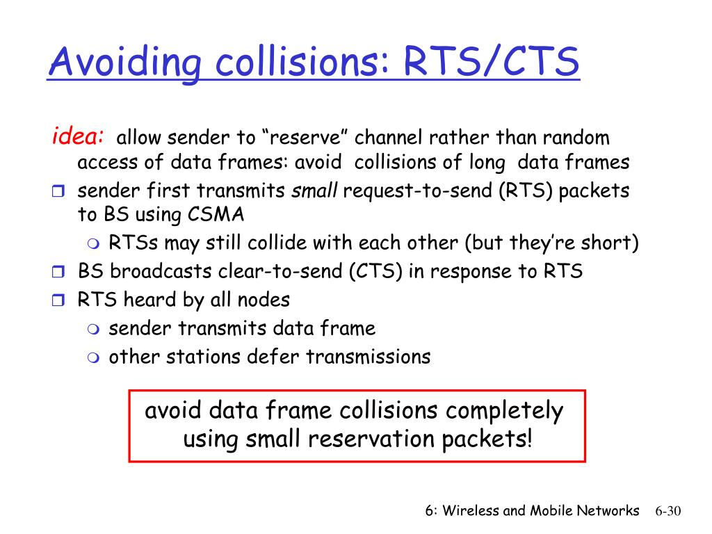 Avoiding collisions: RTS/CTS