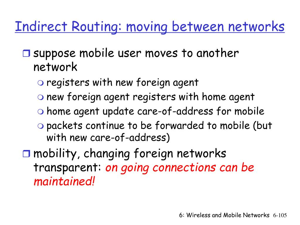Indirect Routing: moving between networks