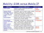 mobility gsm versus mobile ip