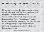 maintaining the hrms cont d