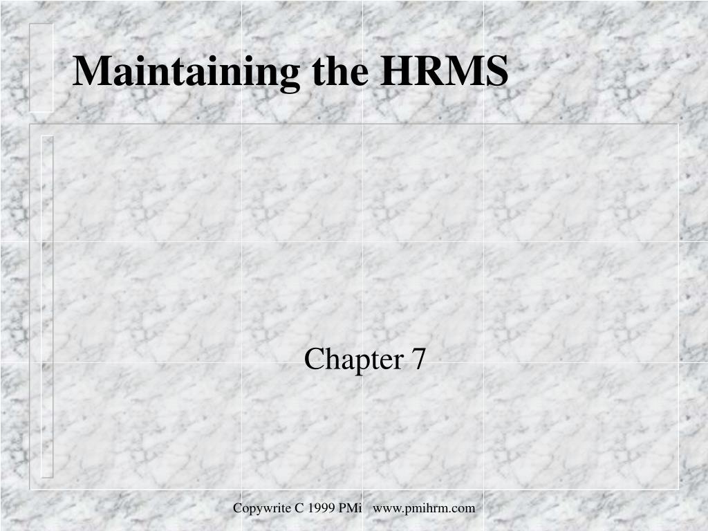 maintaining the hrms l.