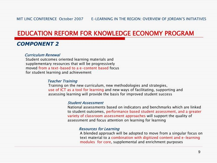 EDUCATION REFORM FOR KNOWLEDGE ECONOMY PROGRAM