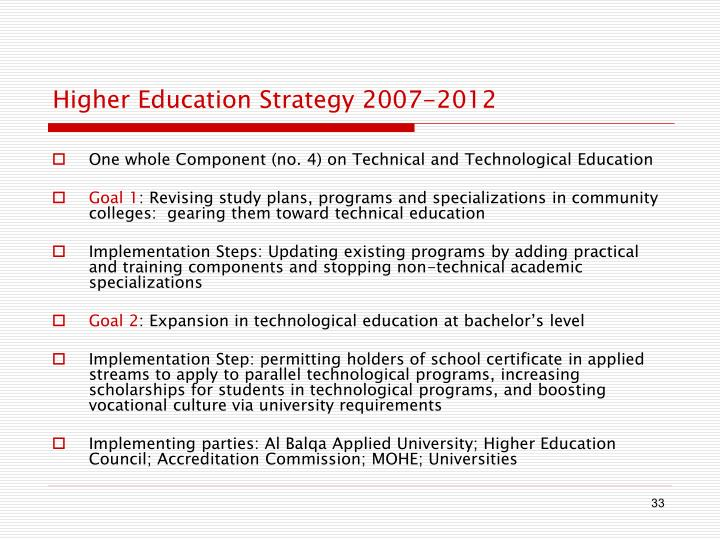 Higher Education Strategy 2007-2012