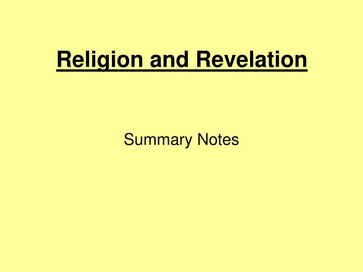 religion and revelation n.