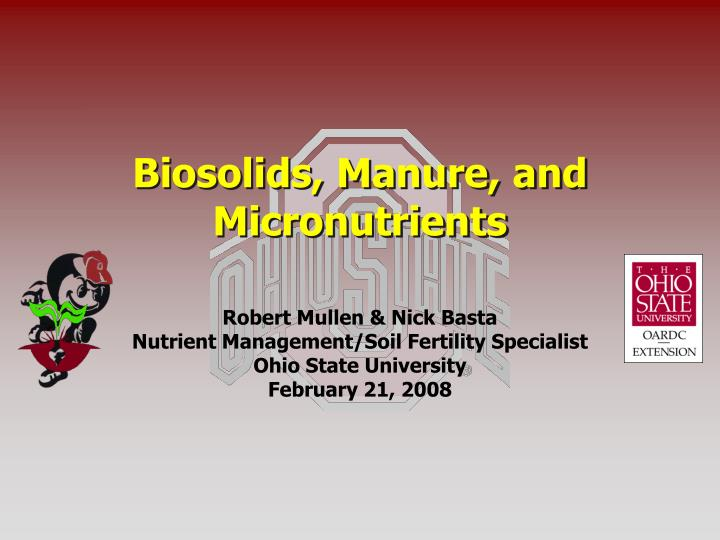 biosolids manure and micronutrients n.