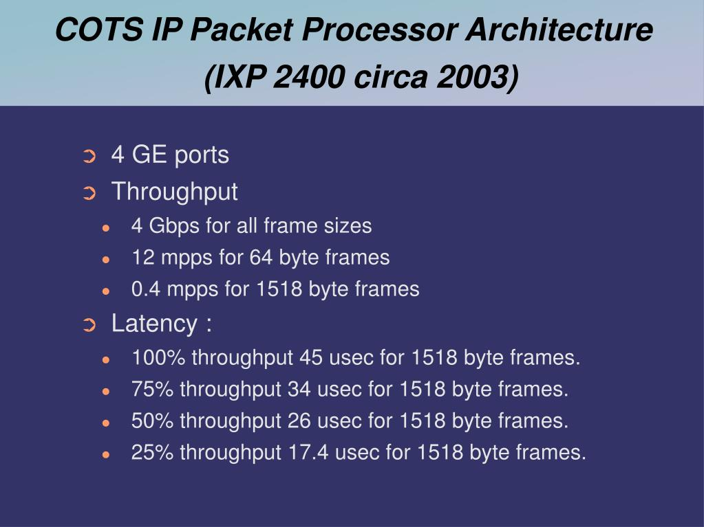 COTS IP Packet Processor Architecture (IXP 2400 circa 2003)