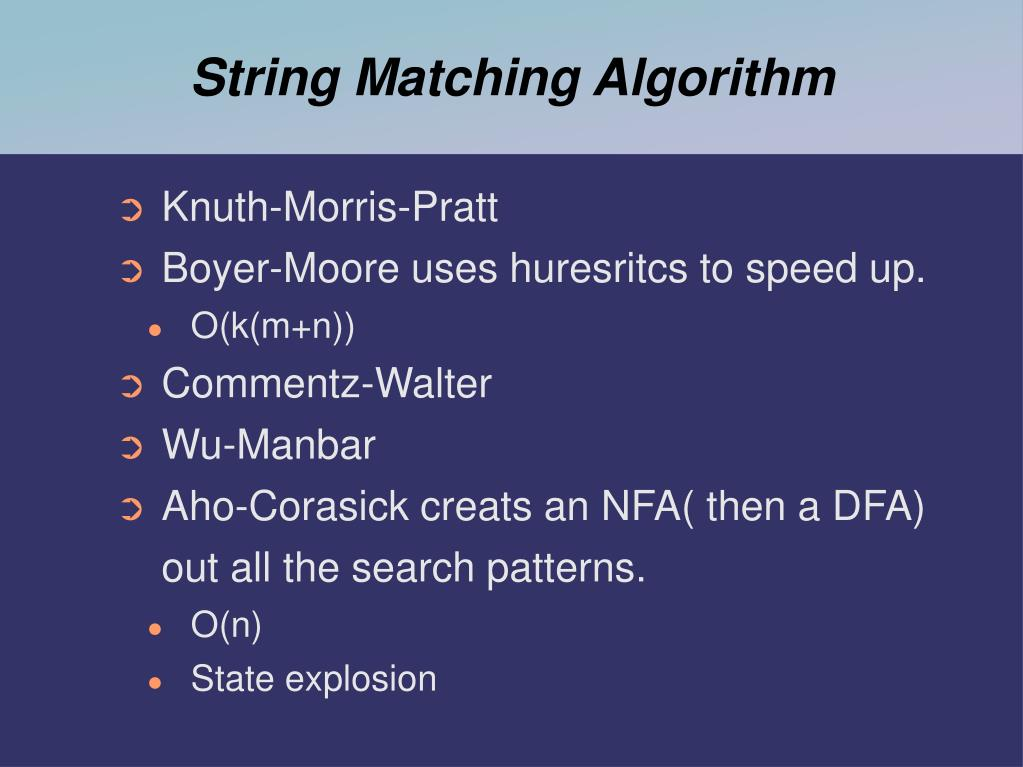 String Matching Algorithm