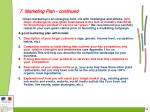 7 marketing plan continued32
