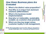 how green business plans are evaluated