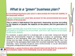 what is a green business plan