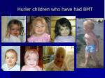 hurler children who have had bmt