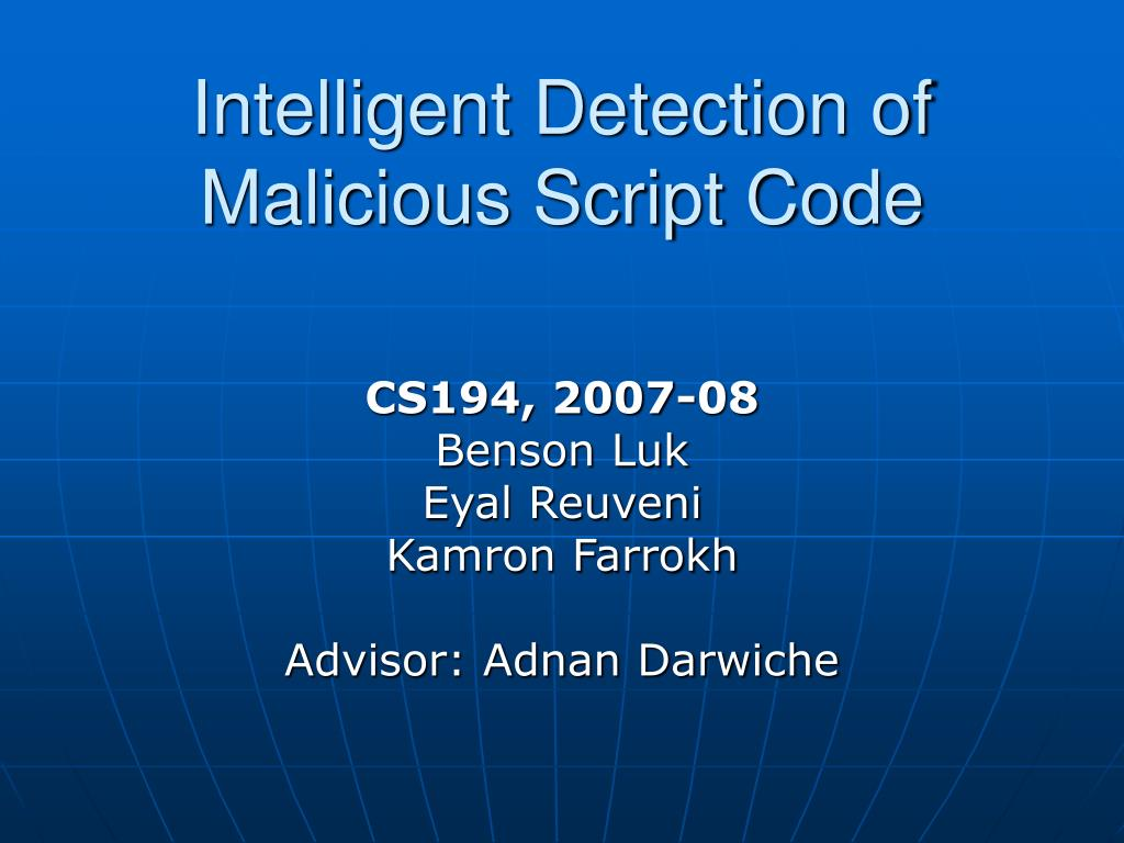 intelligent detection of malicious script code l.