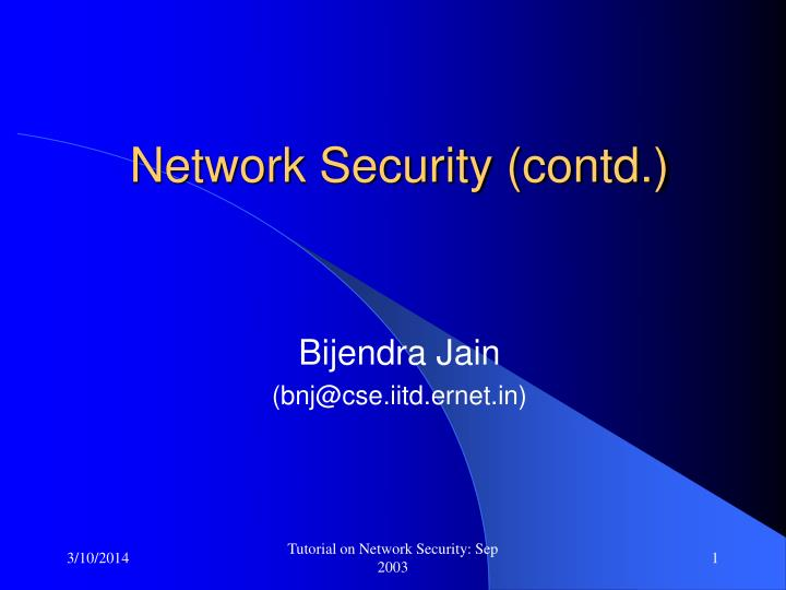 Network security contd