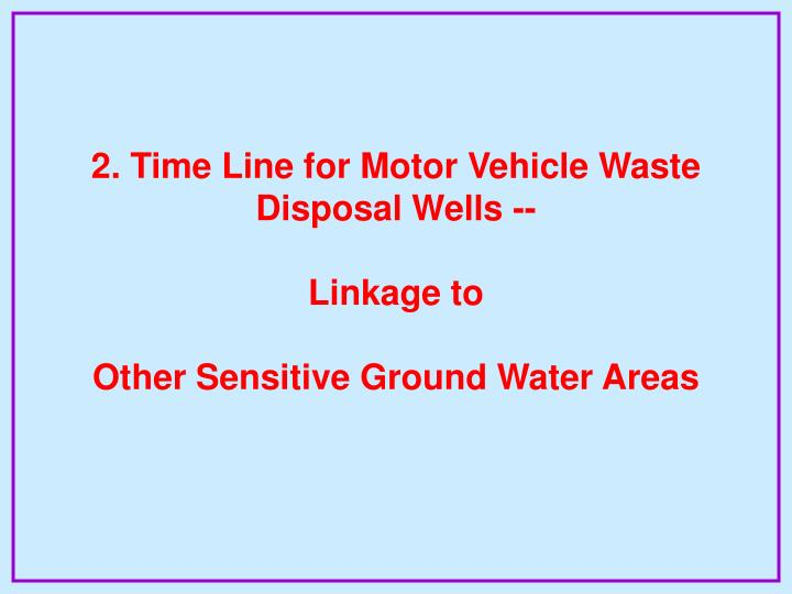 2. Time Line for Motor Vehicle Waste Disposal Wells --