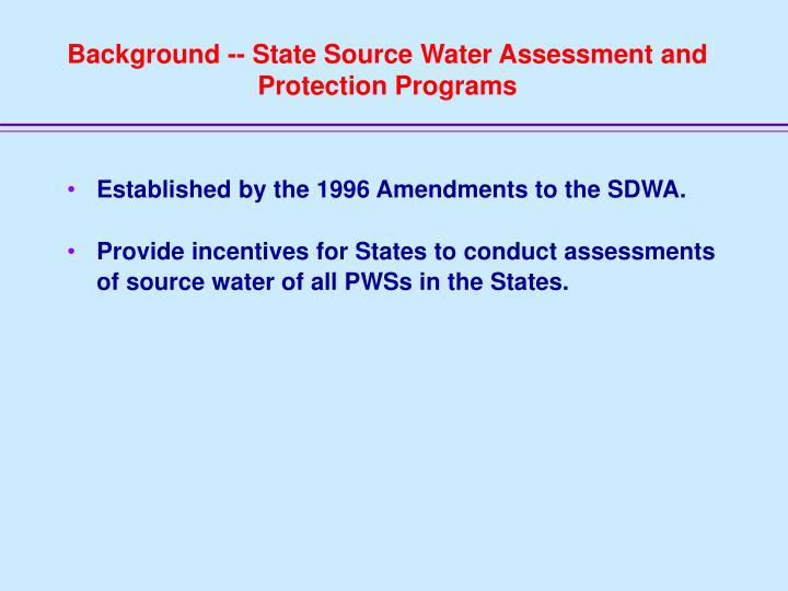 Background -- State Source Water Assessment and Protection Programs