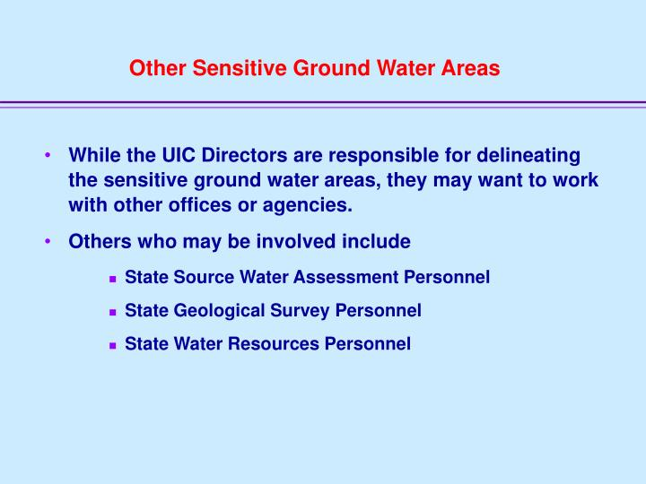 Other Sensitive Ground Water Areas