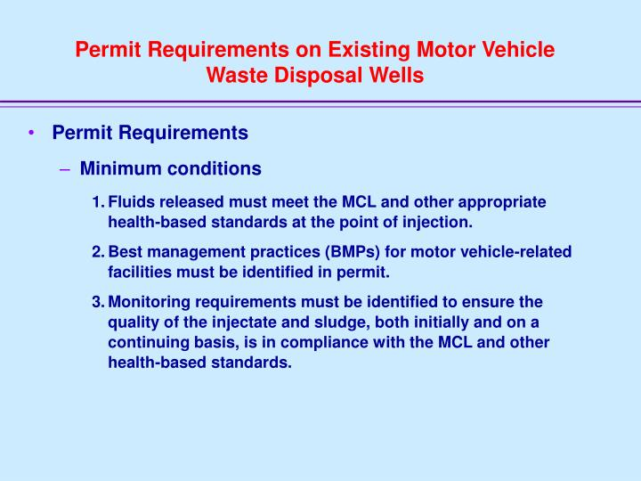 Permit Requirements on Existing Motor Vehicle Waste Disposal Wells
