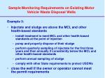 sample monitoring requirements on existing motor vehicle waste disposal wells2