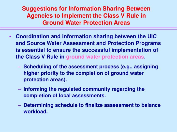 Suggestions for Information Sharing Between Agencies to Implement the Class V Rule in