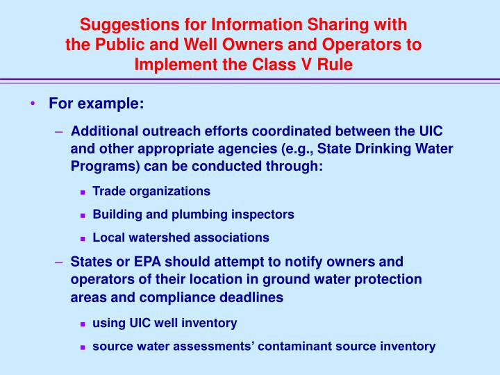Suggestions for Information Sharing with