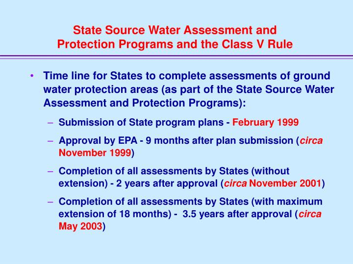 State Source Water Assessment and
