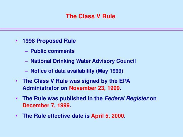 The Class V Rule