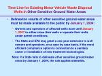 time line for existing motor vehicle waste disposal wells in other sensitive ground water areas