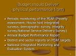 budget should deliver physical performance front