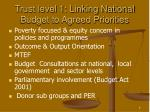 trust level 1 linking national budget to agreed priorities