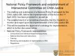 national policy framework and establishment of intersectoral committee on child justice