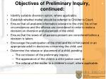 objectives of preliminary inquiry continued