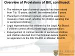 overview of provisions of bill continued