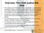 overview the child justice bill 2008