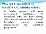why is a clear focus on poverty and gender needed32
