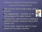 how he matches the personality traits of entrepreneurs