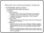 security for communication channel16