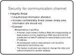security for communication channel18