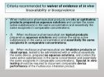 criteria recommended for waiver of evidence of in vivo bioavailability or bioequivalence21
