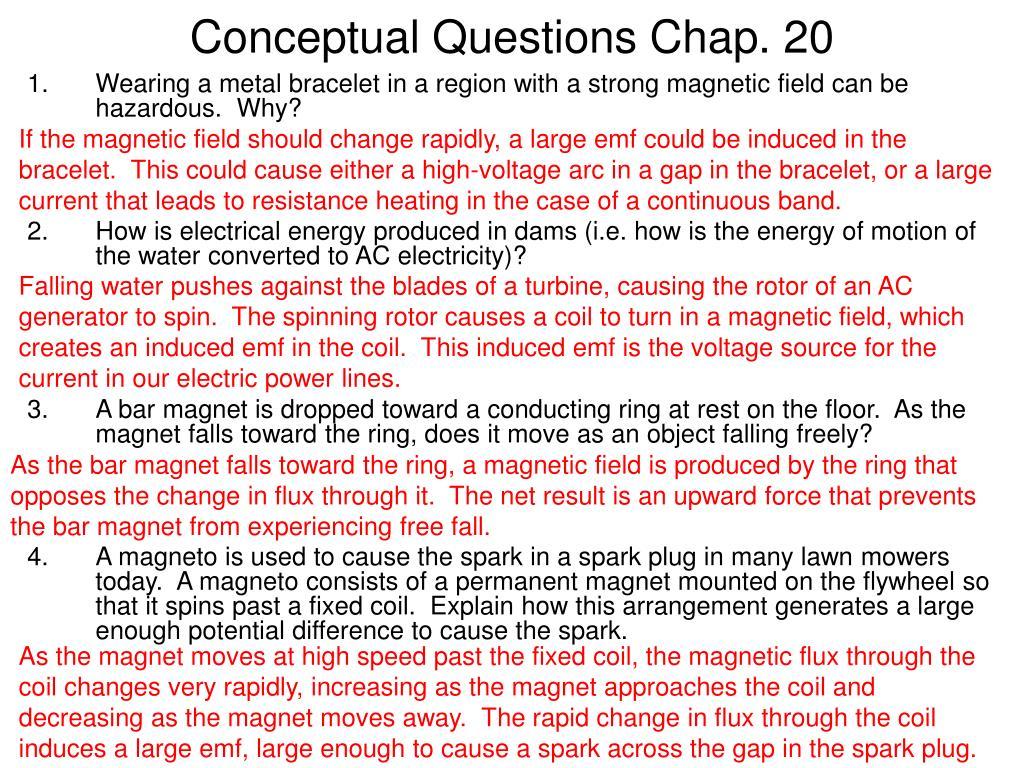 conceptual questions chap 20 l.