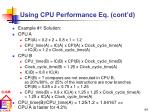 using cpu performance eq cont d