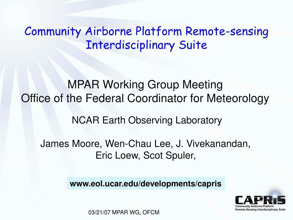 community airborne platform remote sensing interdisciplinary suite l.