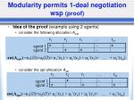 modularity permits 1 deal negotiation wsp proof