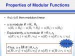 properties of modular functions