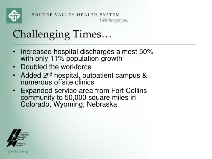 Increased hospital discharges almost 50% with only 11% population growth