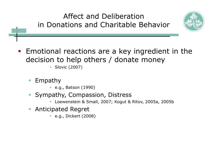 Affect and deliberation in donations and charitable behavior